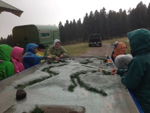 Beaverhead County elementary school students gather around the Rolling Rivers Trailer as they listen to BWC's Katie Tackett explain the importance of riparian vegetation and stock water.