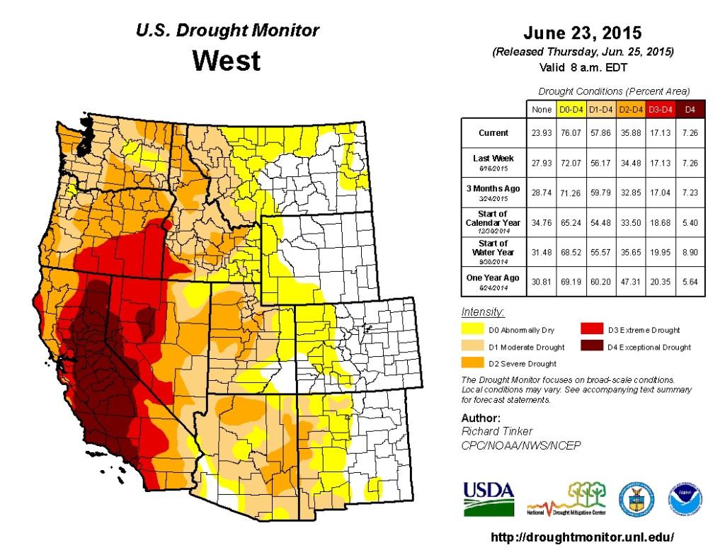 6/23/15 U.S. Drought Monitor - Western U.S. Map